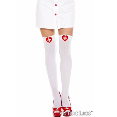 Music Legs Heart Cross Print Thigh High OS