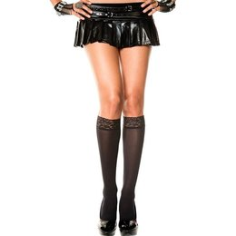 Music Legs Opaque Lace Top Knee Hi OS