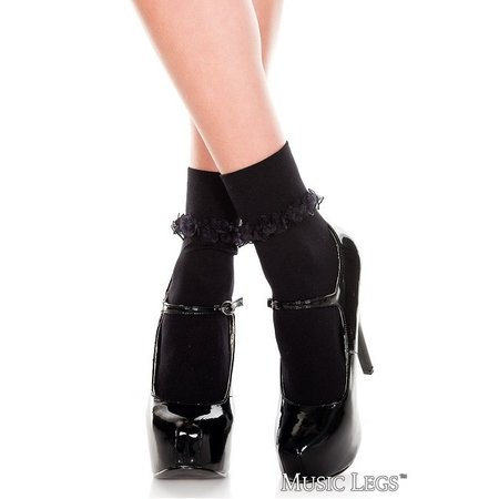 Music Legs Music Legs Opaque Ankle Hi with Ruffle Trim OS