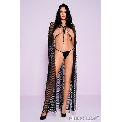 Music Legs Hooded Fishnet Cape