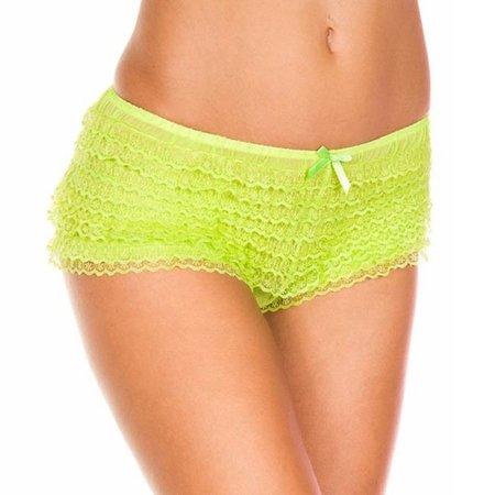 Music Legs Music Legs Stretch Tanga Lace Ruffle Panty OS