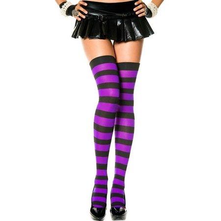 Music Legs Music Legs Wide Striped Thigh High OS