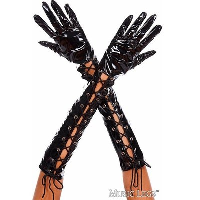 Music Legs Wet Look Ribbon Lace Up Gloves
