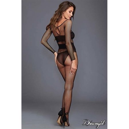 Dreamgirl Dreamgirl Long Sleeved Fishnet Bodystocking OS