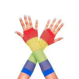 Music Legs Rainbow Diamond Net Fishnet Gloves OS