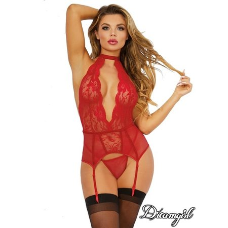 Dreamgirl Dreamgirl Red Lace and Net Bustier OS