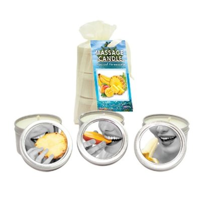 Earthly Body Tropical Threesome Edible Massage Oil Candle Set