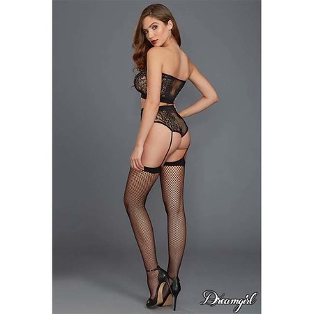 Dreamgirl Dreamgirl Fishnet and Lace Bandeau & Garter Panty OS