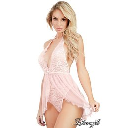 Dreamgirl Lace Teddy with Hi-Lo Skirt OS