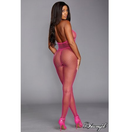 Dreamgirl Dreamgirl Neon Pink Diamond Net Halter Bodystocking OS