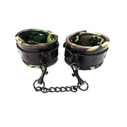Rouge Leather Padded Ankle Cuffs Black & Camo