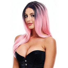 Elle Wig in Black & Pink