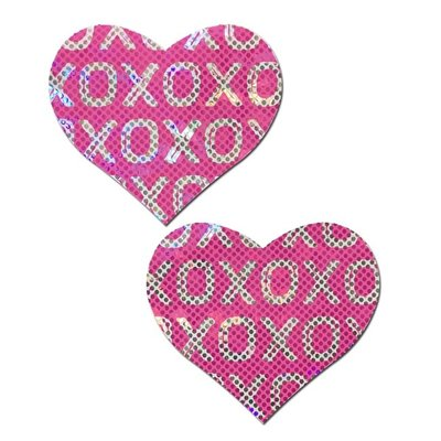Pastease Disco Ball Pink with White XO Heart Pasties