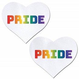 Pastease Rainbow PRIDE on White Heart Nipple Pasties