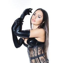 Coquette Coquette Wet Look Gloves Black