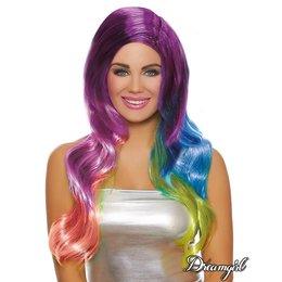 Dreamgirl Long Wavy Rainbow Ombré Wig