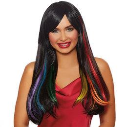 Dreamgirl Long Straight Black Hidden Rainbow Wig