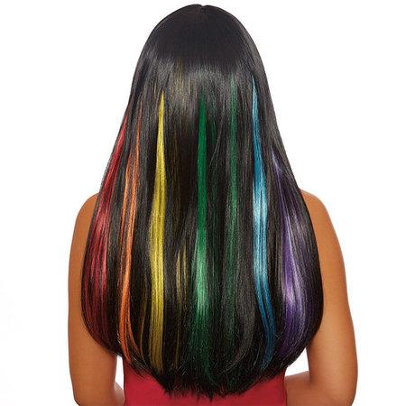 Dreamgirl Dreamgirl Long Straight Black Hidden Rainbow Wig