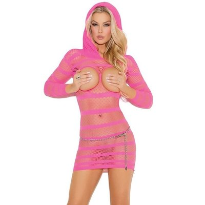 Elegant Moments Cupless Mini Dress with Hood Pink OS