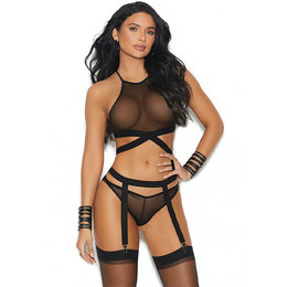 Elegant Moments All About You Strappy Bralette Panty & Garterbelt OS