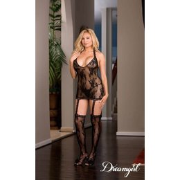 "Dreamgirl ""Florence"" Dress with attached Garters & Stockings OSX"