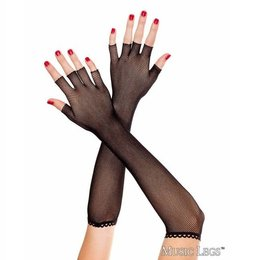 Music Legs Fingerless Fishnet Elbow Length Gloves