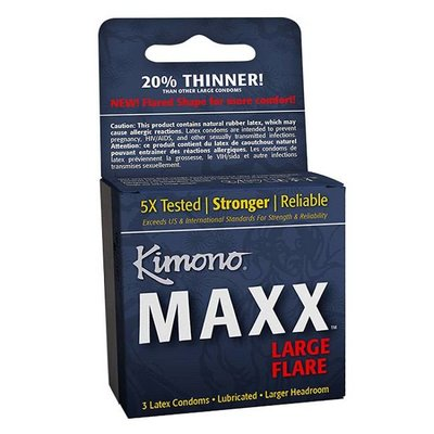 Kimono Maxx Large Flare Condom 3 Pack