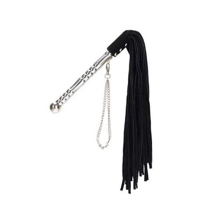 Punishment Black Whip with Silver Handle