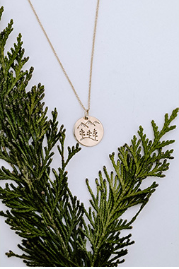 Gold Tree  + Mountain Disc Necklace