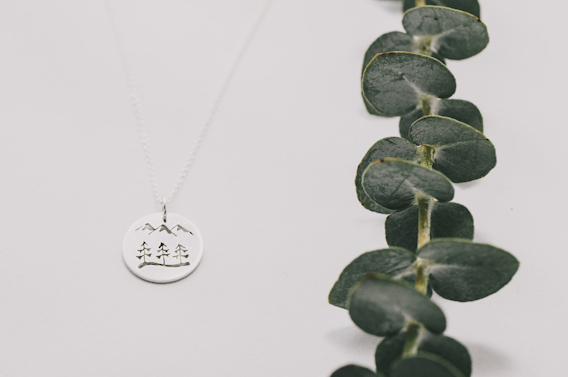Silver Tree + Mountain Disc Necklace