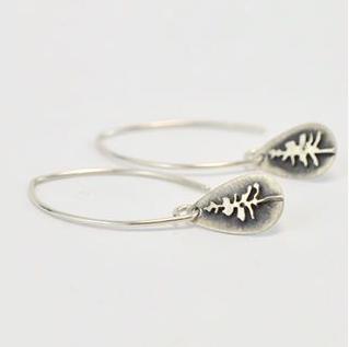 Silver Teardrop Tree Earrings