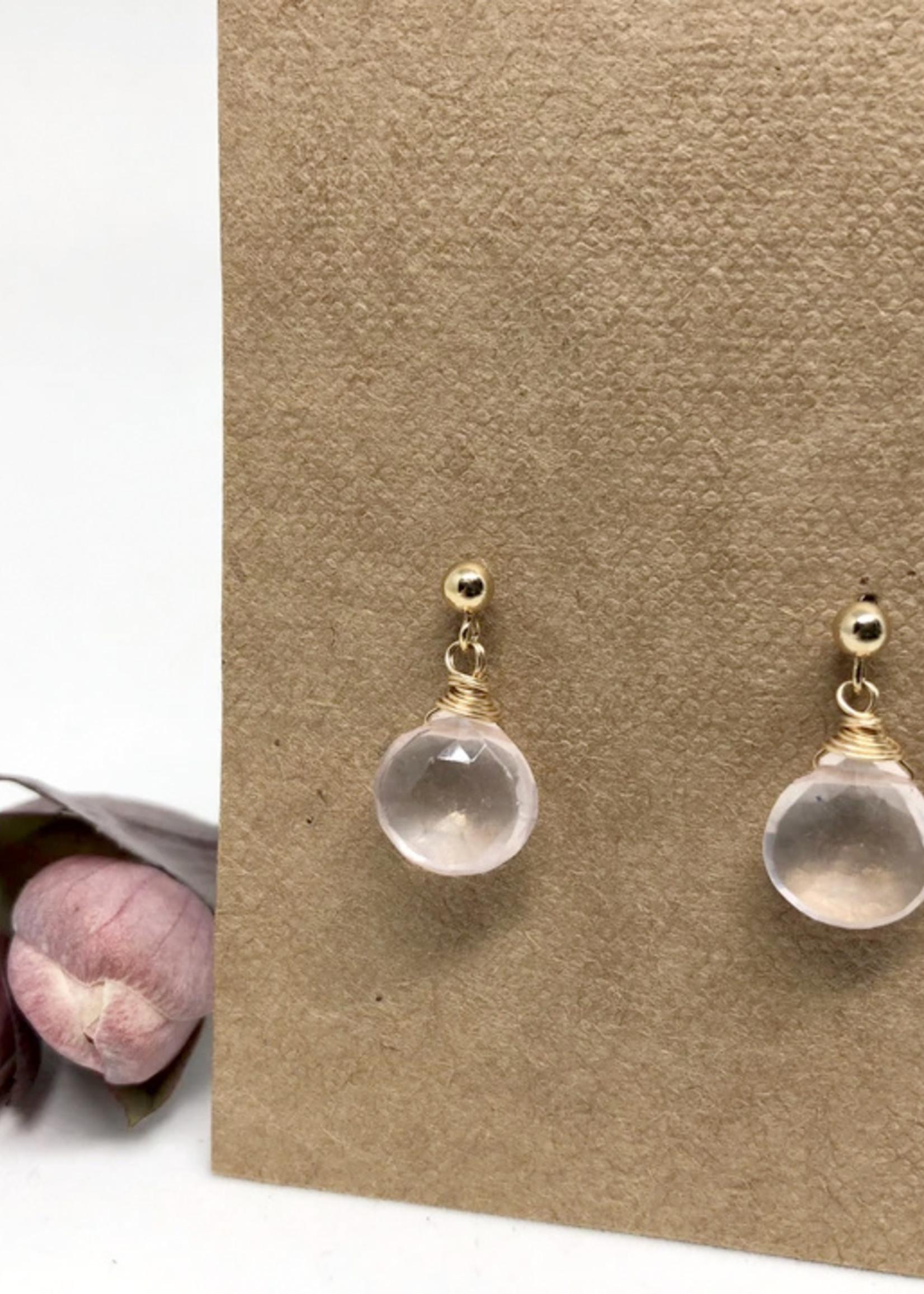 Naked Sage Naked Sage - Rose Quartz Linnaea Earrings