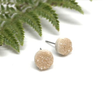 Naked Sage Champagne Druzy Studs