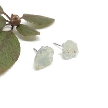 Naked Sage  Aquamarine Raw Gem Studs