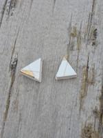 Slade Goods Gold + White Triangle Studs