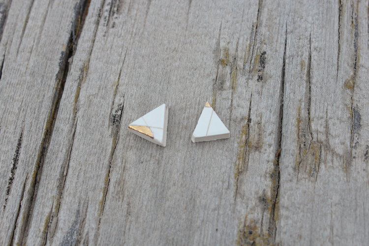 Slade Goods Gold + White Triangle Studs