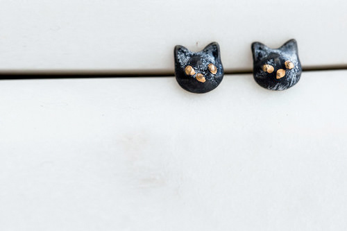 Slade Goods Black Kitty Studs