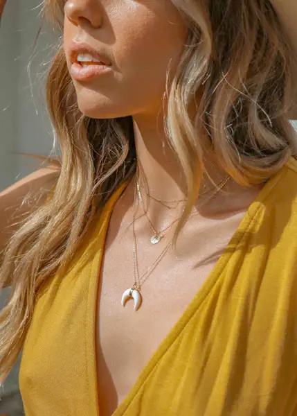 May Martin Crescent Moon Shell Necklace