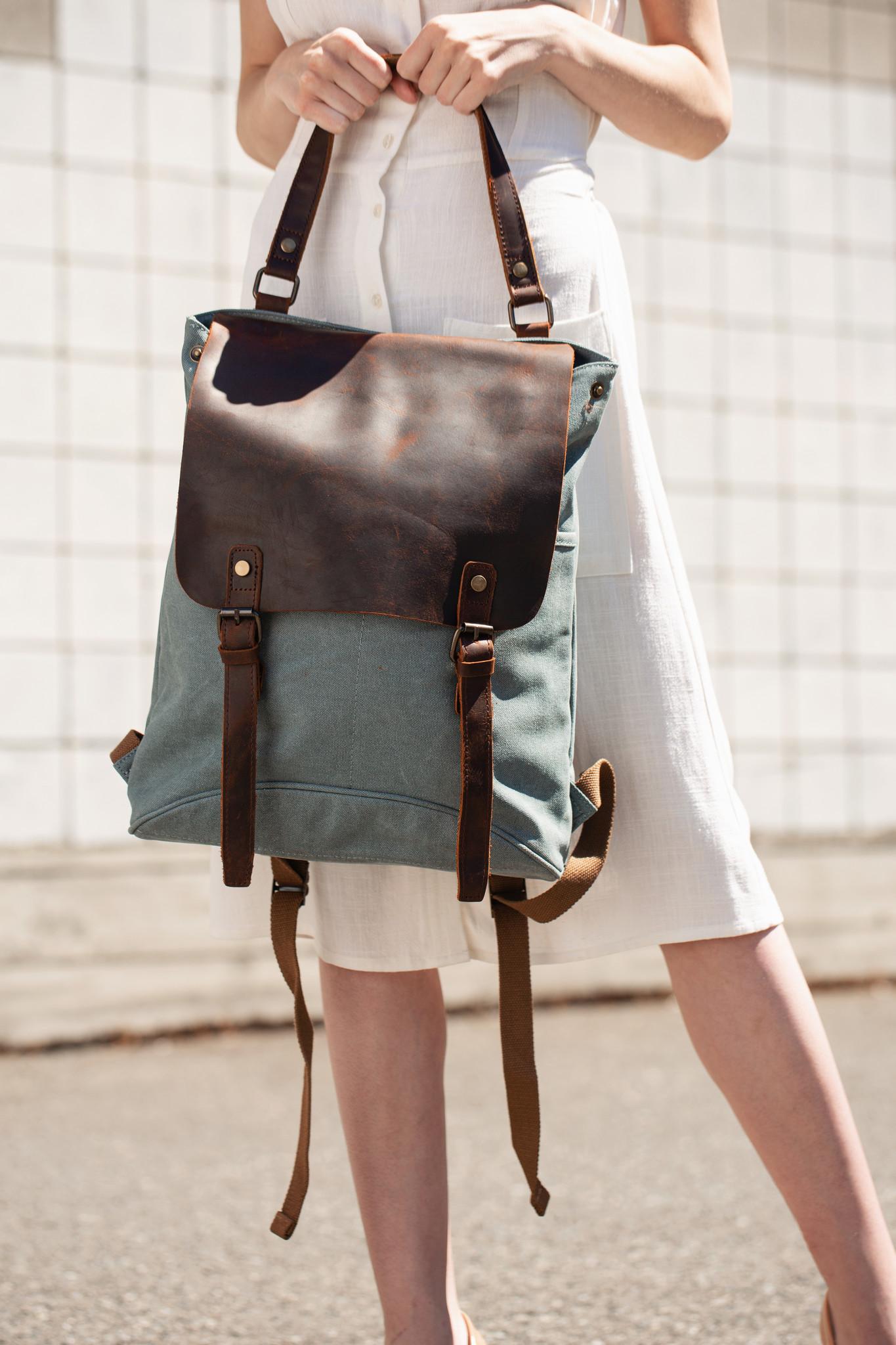 Aqua Canvas + Leather Backpack