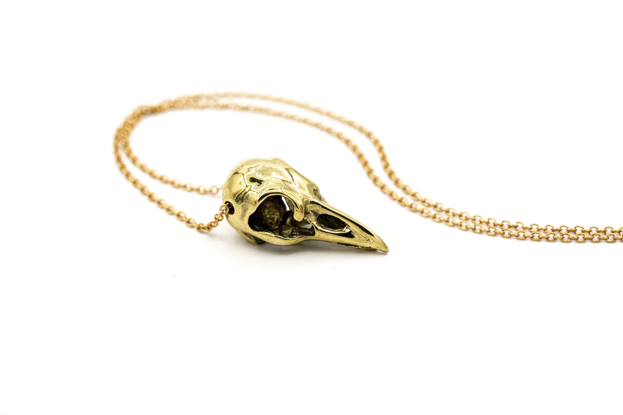 Brass Raven Skull Necklace