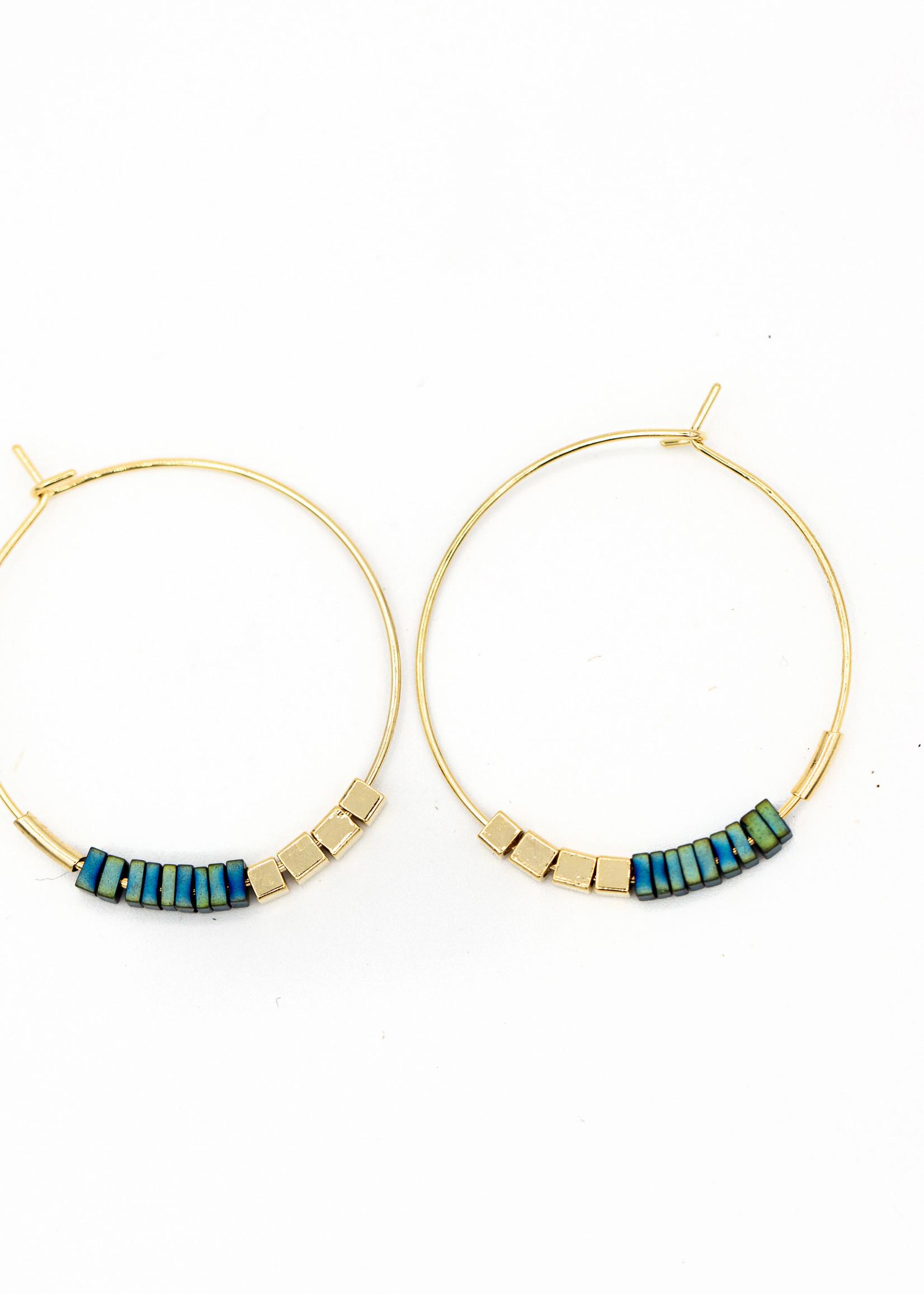 Migration - Blue Beaded Hoop Earrings