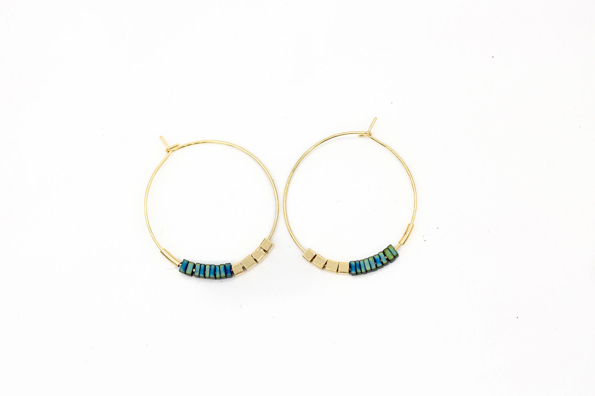 Blue Beaded Hoop Earrings