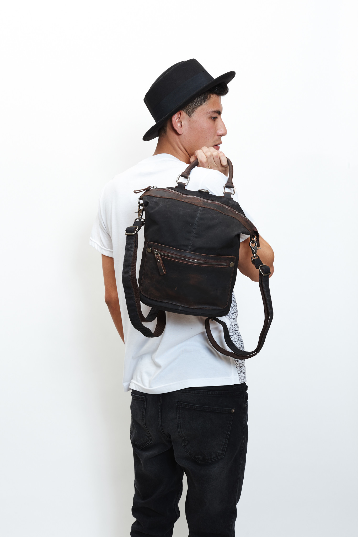 Black Bucket Backpack/Handbag
