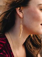 Brass Feather Stencil Earrings