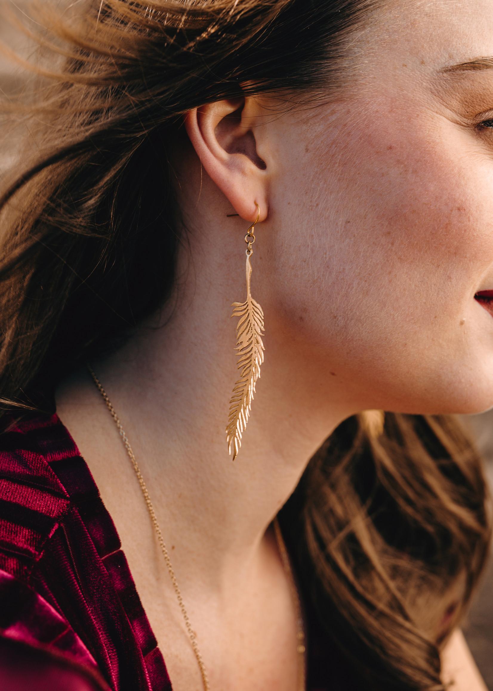Migration - Brass Feather Stencil Earrings