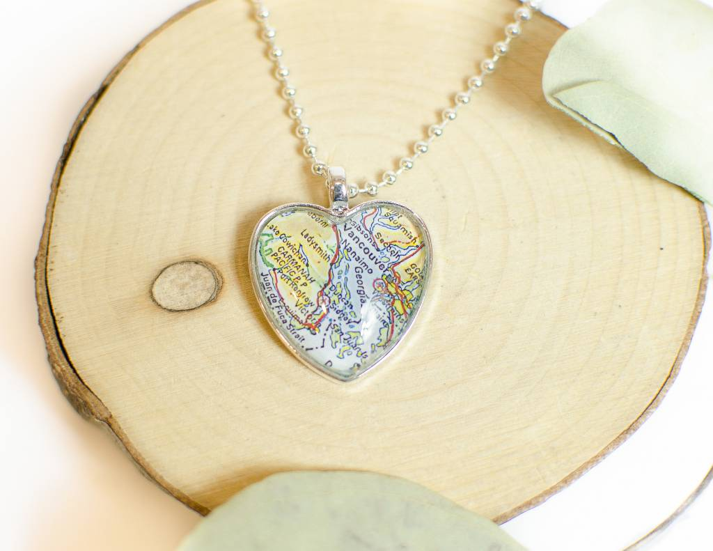 Victoria Map Heart Necklace