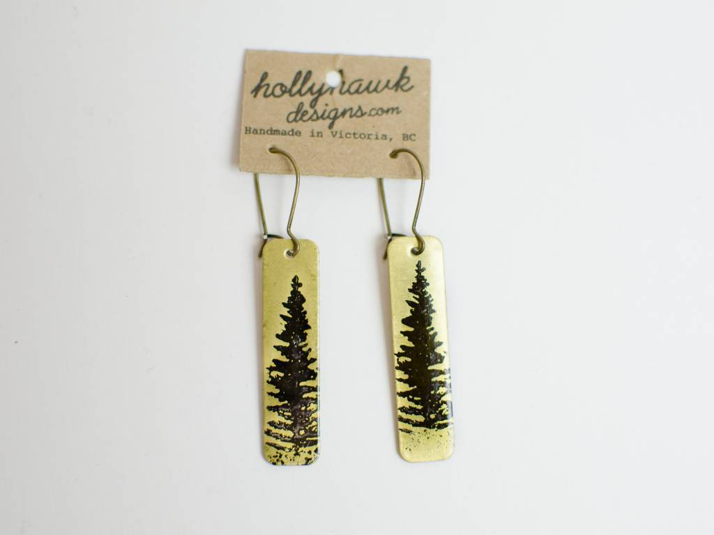 Brass Pine Earrings