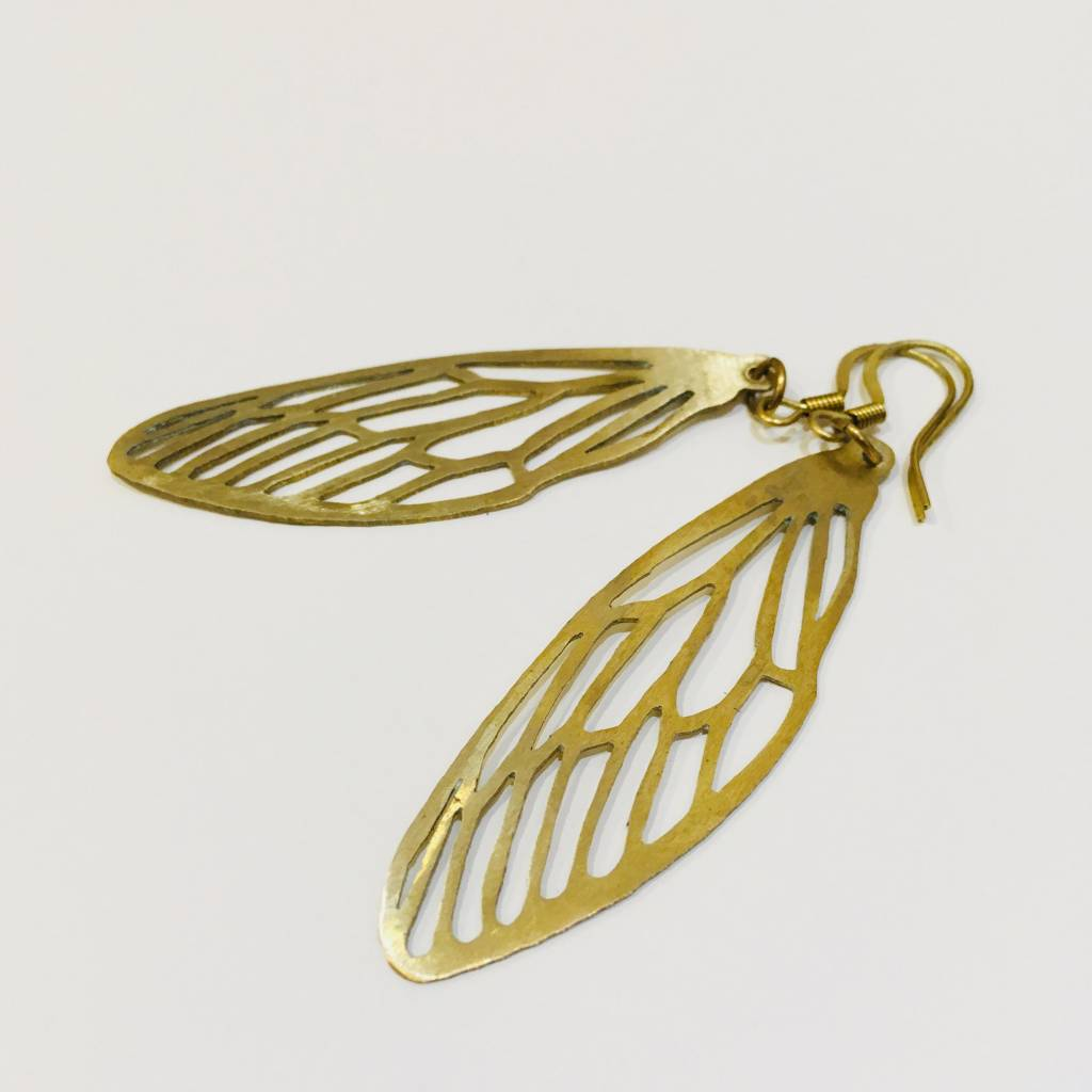 Brass Dragonfly Stencil Earrings