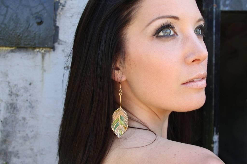 Brass Glass Leaves Earrings