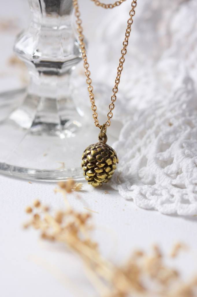 Brass Small Pinecone Necklace